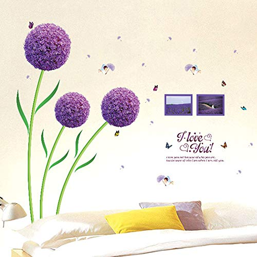 WMdecal Removable Large Flowers Vinyl Wall Decal Peel and Stick TV Wall Decoration Wall Art Big Size Mural Stickers for Living Room (Purple Dandelion)