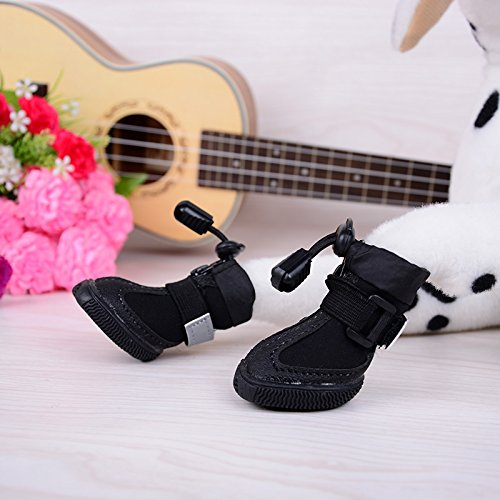 Ecloud Shop® cargadores del perro, perro zapatos con suela blanda contra el deslizamiento resistente al agua (negro-L)