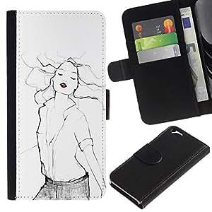 All Phone Most Case / Oferta Especial Cáscara Funda de cuero Monedero Cubierta de proteccion Caso / Wallet Case for Apple Iphone 6 // labios rojos arte moda mujer sexy blanco