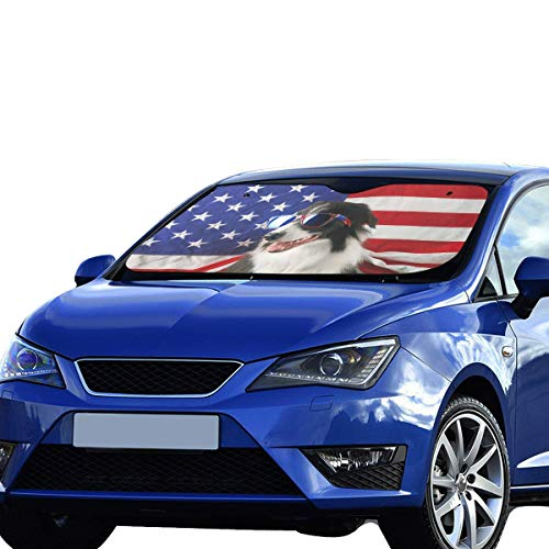 Car Baby Sun Shade Beautiful Border Collie In Front Of A Usa Flag Wit Polyester&aluminized Film Cushion For Maximum Uv & Sun Protection Car Window Shades Suv Foldable Keep Your - Beautiful Collie Border