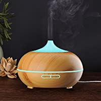 KBAYBO 300ml Aroma Diffuser, Wood Grain Ultrasonic Cool Mist Humidifier Essential Oil Diffuser for Office Home Bedroom Living Room Study Yoga Spa