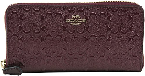 Coach Signature Debossed Patent Leather Accordion Zip Wallet, F54805 (Oxblood)