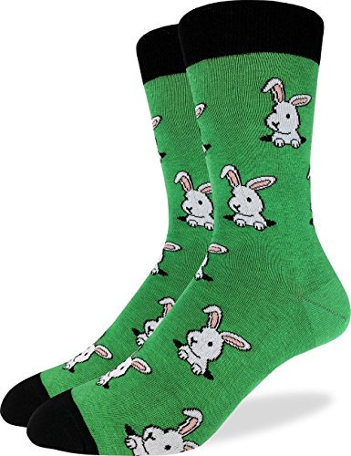 (Good Luck Sock Men's Bunny Rabbit Crew Socks - Green, Shoe Size 7-12)