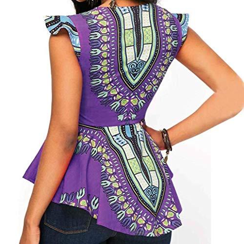 Neck di Magliette Fit Asimmetrica Fashion Grazioso Top Eleganti Shirt Modern Giovane Stile Estivi Donna Sleeveless V Hipster A Chiusura Moda Moda Irregolare Stlie Slim Camicetta Stampati Purple Cerniera qw47t6X