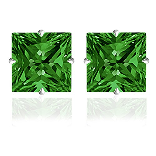 14k Solid White Gold 4mm Princess-Cut Emerald CZ Stud Earrings by Orchid Jewelry -