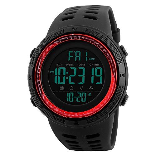 Water Resistant Sports Stopwatch - Men's Digital Sports Watch Waterproof Military Stopwatch Countdown Auto Date Alarm (Red)