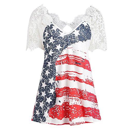 (RINKOUa Women's Summer Plus Size American Flag Print V Neck Lace Yoke Color Block Swing Blouse Tunic Tops T-Shirt White Medium)