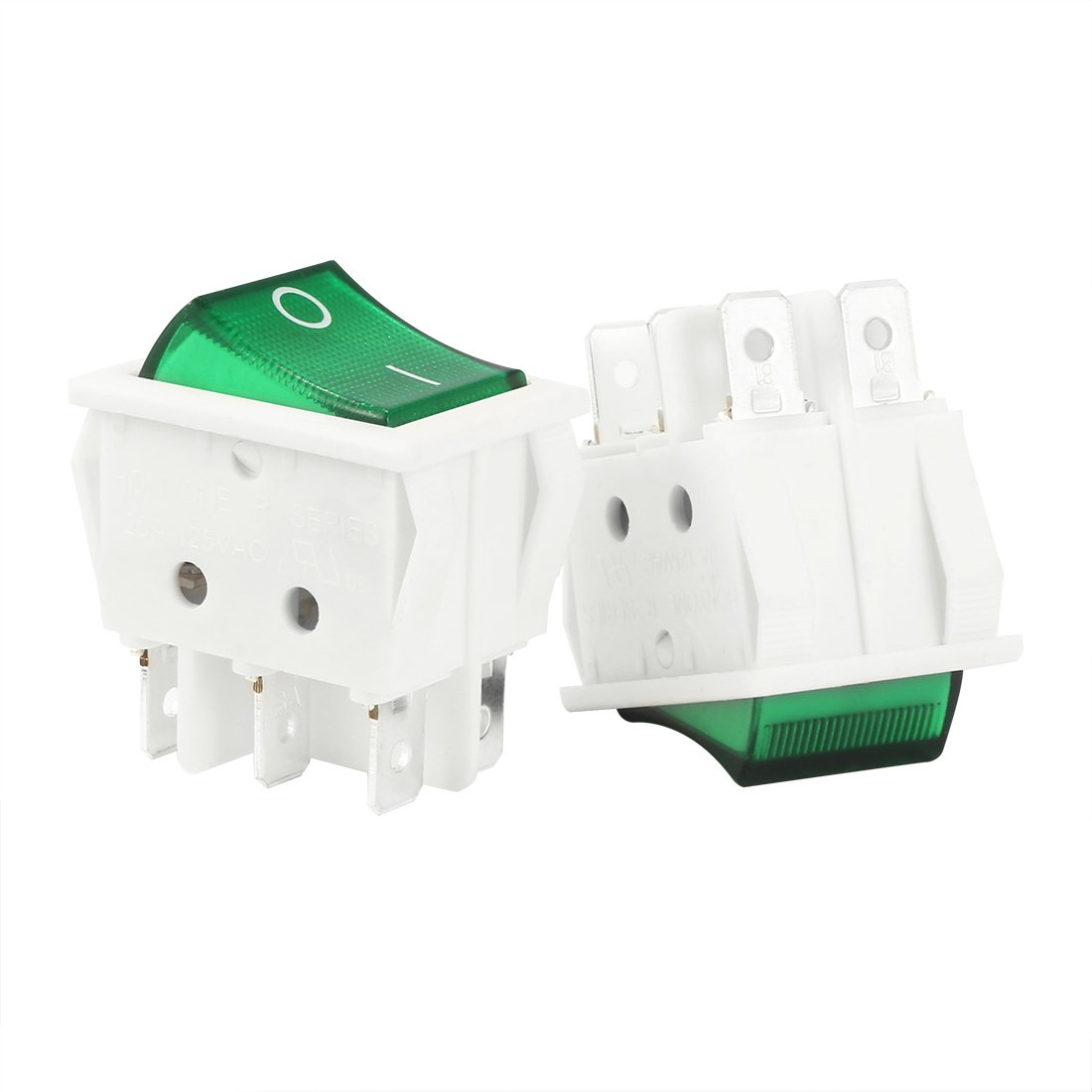 uxcell 5pcs Green Light On/Off SPDT Boat Rocker Switch 22A/250V 20A/125V AC a14062700ux0373