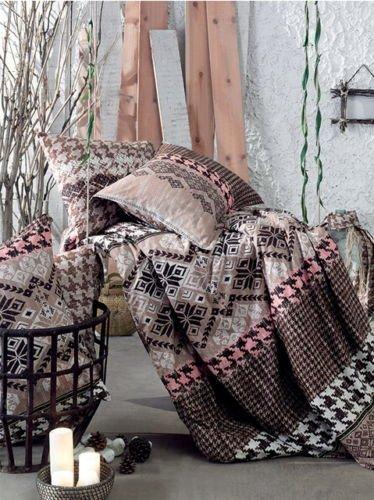 Bettwäsche 220x240 cm Bettgarnitur Bettbezug Baumwolle Kissen 6 tlg ETNIK BRAUN