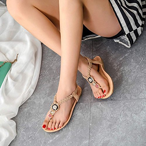 Beige ANBOO Sweet Shoes Beaded ClipToe Bohemia Beach Fashion Summer Sandals qq61Svzw