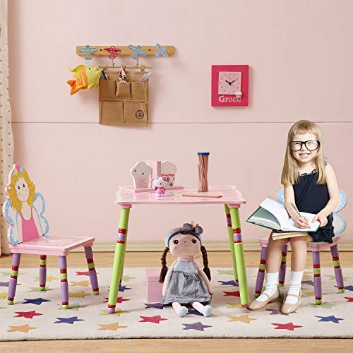 WODENY Kids Table and Chair Set Girls | Child Desk and Chair Set | Wood Table and Chairs for Toddlers Children 3+ Years with Cartoons Fairy Spirits Paintings Pink ()