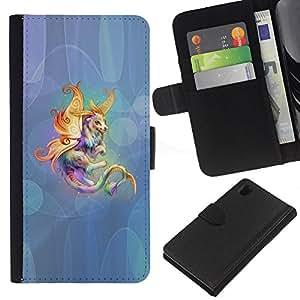 KLONGSHOP // Tirón de la caja Cartera de cuero con ranuras para tarjetas - Animal criatura cuento de hadas colorido arte del unicornio - Sony Xperia Z1 L39 //