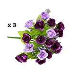 Conjugal Bliss 3PCS Artifical Fake Rose Peony Chinese Rose Starshine 21 Head Flowers For Wedding Party Home Decor Silk Flower Five Colours -- Purple Yellow Pink Mei Red White (Purple)