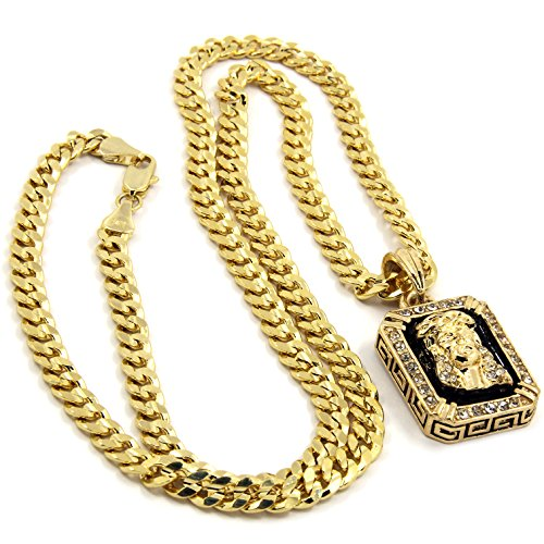 Mens Gold Plated Hip-Hop Iced Cz Black Ruby Jesus Face Pendant 5mm 24