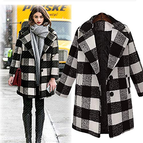 Orangeskycn Women Classic Full Sleeve Plaid Pea Coat Single-Breasted Lapel Front Pocket Overcoat (Country Club Blazer)