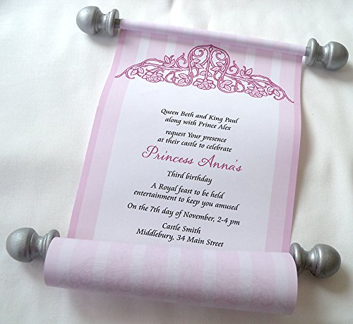 Amazoncom Medieval princess invitation scrolls in pink with silver
