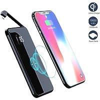 Banco de Energía inalámbrico, Batería portátil externa Cargador Batería de 10000 mAh con cable incorporado Micro Compatible con todos los teléfonos celulares estándar Qi