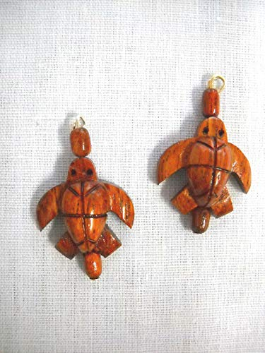 - New Carved KOA Wood Honu SEA Turtle Wooden Accents Charm Sterling Hook Earrings KEZ-1785