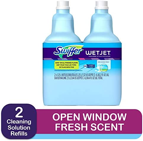 Swiffer Wetjet Hardwood Floor Mopping and Cleaning Solution Refills All Purpose Cleaning Product Open Window Fresh Scent 1.25 Liter 2 Pack