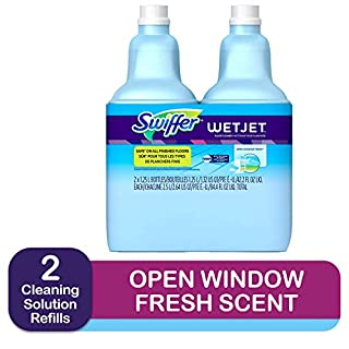 Swiffer Wetjet Hardwood Floor Mopping and Cleaning Solution Refills, All Purpose Cleaning Product, Open Window Fresh Scent, 1.25 Liter, 2 Pack