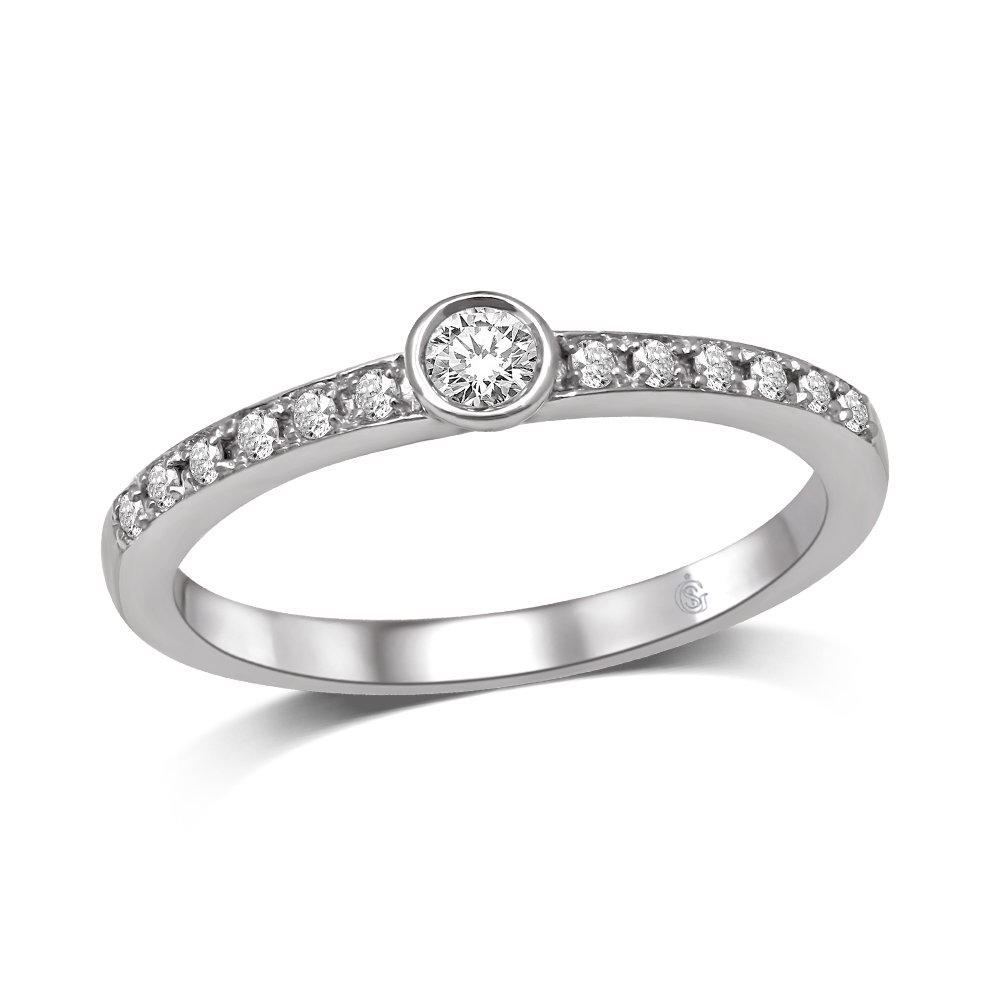 14K White Gold 1/5 Ct.Tw.Diamond Fashion Ring