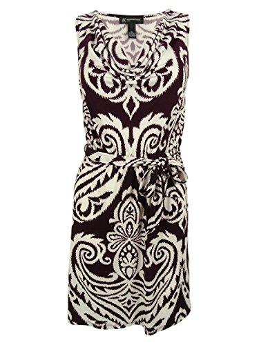Belted Cowl Neck Dress (Inc International Concepts Women's Belted Cowl Neck Dress (PL, Royal Scrolls))