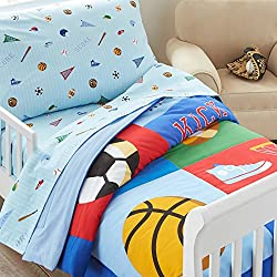 Wildkin Lightweight Toddler Comforter, 100% Cotton Toddler Comforter with Soft Flannel Lining and Embroidered Details, Coordinates with Other Room Décor, Olive Kids Design – Game On