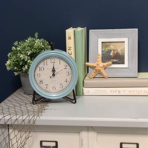 Wood Clock Tabletop (Stratton Home Décor Stratton Home Decor Dixie Table-top Clock, 6.25 W X 2.00 D X 8.00 H, Blue, Black)