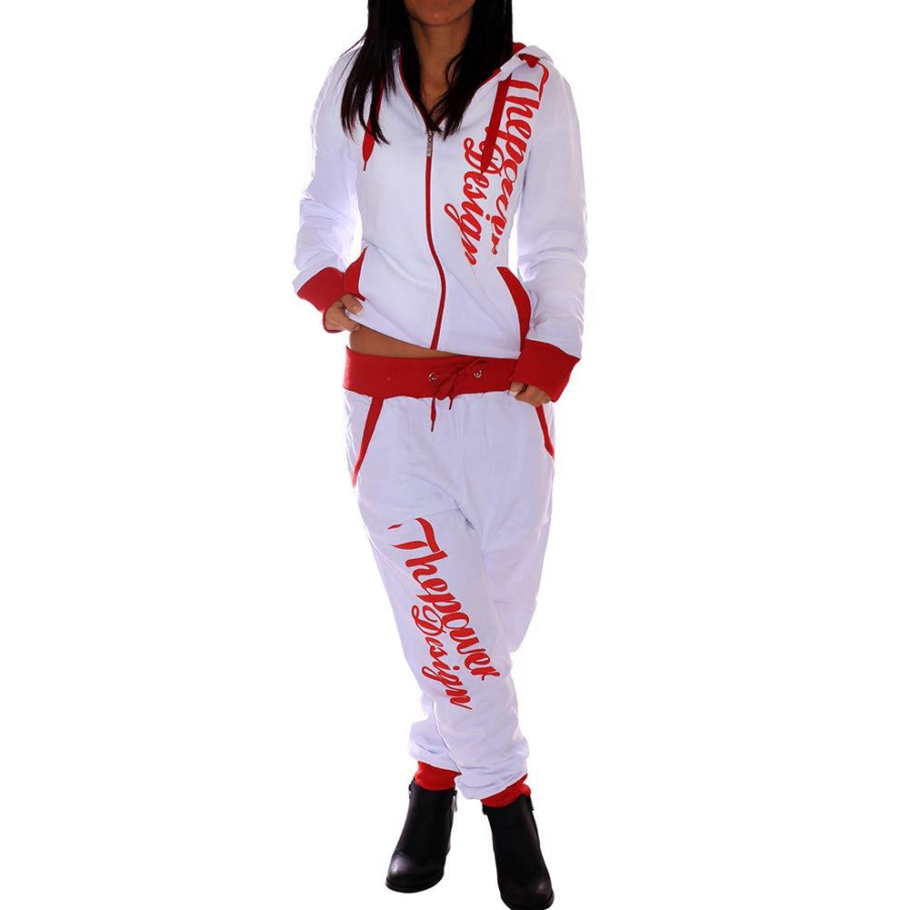 Women's 2 Pieces Long Sleeve Tracksuit Letter Print Color Block Zipper Top Long Casual Pants Outfits