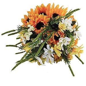 Zebratown 8.7inch Sunflower Artificial Flower Bride Holding Flower Photography Props Wedding Bouquet (Orange) 106