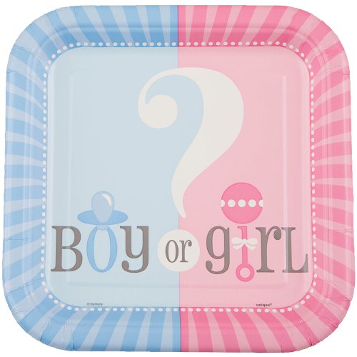 [Square Gender Reveal Dessert Plates, 10ct] (Fast Easy Boy Costumes)
