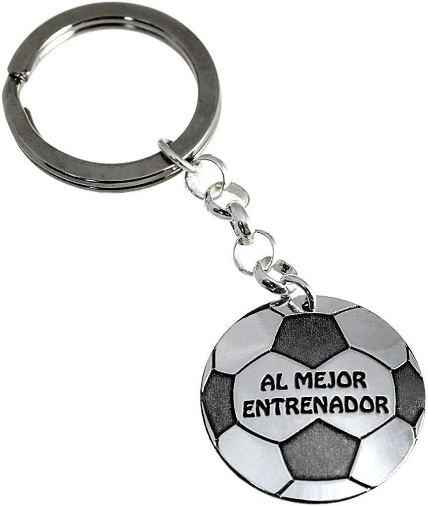 Llavero Plata Ley 925M Balón Fútbol 30mm. Al Mejor Entrenador ...
