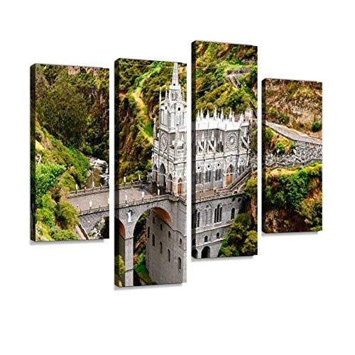 (Colombia, Sanctuary of The Virgin of Las Lajas Canvas Wall Art Hanging Paintings Modern Artwork Abstract Picture Prints Home Decoration Gift Unique Designed Framed 4 Panel)