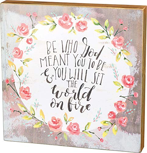 Primitives by Kathy Hand-Lettered Box Sign, Set The World on Fire