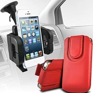 LG L90 Protección Premium de cuero de la PU botón magnético ficha de extracción Slip espinal en bolsa de la cubierta de piel de bolsillo rápido con soporte universal de la succión del parabrisas del coche Vent Cuna Red por Spyrox
