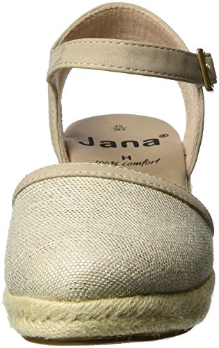 Jana 29501, Sandalias con Cuña para Mujer Beige (Beige/silver 395)