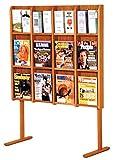 Wooden Mallet Divulge 12 Magazine/24 Brochure Floor Display w/Brochure Inserts, Medium Oak
