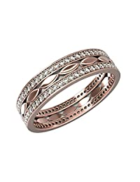 Womens Eternity Wedding Band Rings in 14K Gold with 0.5 Carat Diamonds and Band Width 5mm