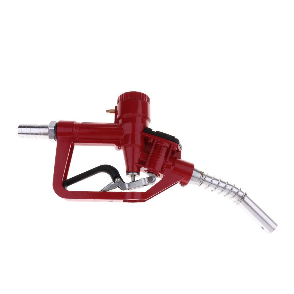 D DOLITY 1'' Nozzle Petrol Oil Delivery Gun with Electronic In-line Flow Meter - Red, 345x190x60mm