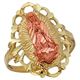 10k Two-Tone Gold Gorgeous Wide Top Diamond Cut Virgin Mary of Guadalupe Ring
