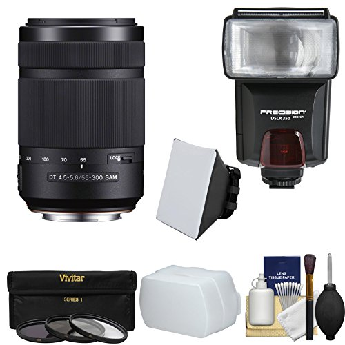 Sony Alpha A-Mount 55-300mm f/4.5-5.6 DT SAM Zoom Lens with Flash + 3 Filters + Diffusers + Kit for A37, A58, A65, A68, A77 II, A99 Cameras