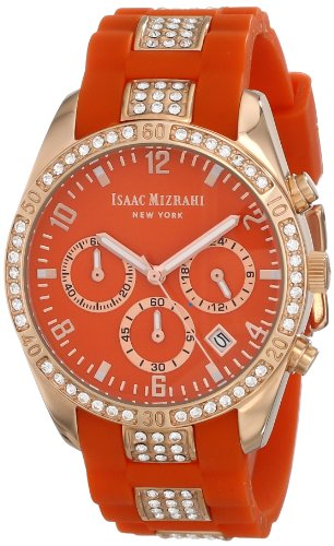 Isaac Mizrahi Women's IMN15RO Gold-Tone Crystal-Accented Watch with Orange Strap
