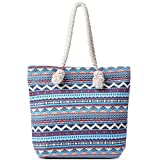 Bohemian Handbag for Women Canvas Stripes Pattern Top Handle Satchel Shoulder Bags for Ladies Messenger Totes Purses