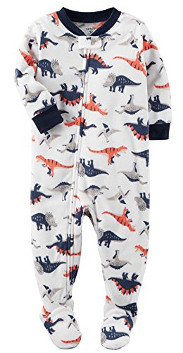 - Carter's Baby Boys 1 Piece Microfleece Footed Pajama Dino White/Navy 18M