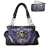 Rhinestone Skull Metal Color Leather Women's Handbag, Wallet with Texas West Coin Collection in 4 Colors (Purple)