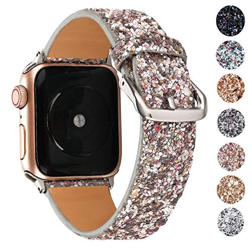 Glittery Sparkle - Greaciary Glitter Bling Band Compatible for Apple Watch 38mm 40mm 42mm 44mm,Leather Luxury Shiny Sparkle Women Replacement iWatch Strap Wristbands for iWatch Series 4/3/2/1