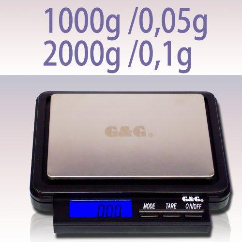 G & G F 2000 g/0,1 g Báscula Digital de bolsillo: Amazon.es: Oficina y papelería
