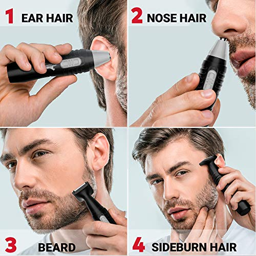 Nose Hair Trimmer for Men – Facial Hair Trimmer for Men, Electric Beard Nose and Ear Hair Trimmer IPX7 Waterproof, Powerful Mute Motor, Double-Edge Stainless Steel Blades