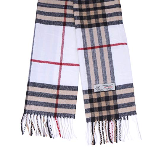 Plaid Cashmere Feel Classic Soft Luxurious Winter Scarf For Men Women (Big Plaid White) ()