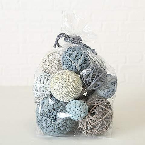Home Collection Popurri Bolsa con Bolas Maritimas Blancas Grises Bolas Decorativas